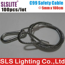 100PCS/LOT 5mm Diameter 100cm Long lighting safety cable steel Stage lighting connector rope cable protection Stainless Steel(China)