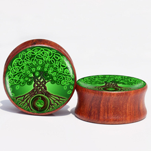 ABAICER 2pcs/Lot Tree of life Red Sandal Wood Ear Gauge Plugs And Flesh Tunnels Expander Stretcher 2G-1'' (8MM-24MM)