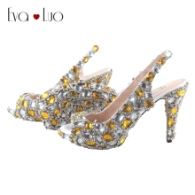 BS041 DHL Express Custom Made Yellow Crystal Italian Shoes With Matching Bag Set High Heels Slingbacks Women Shoes Dress Pumps
