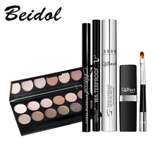 Make up Set Mascara + Eyeliner + Eyeshadow + Eyebrow Pencil + Lipstick Qibest China Brand Free Shipping(China)