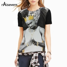 Raisevern Fashion 3D Tee Shirt Tops Tupac 2pac Wearing Golden Crown T Shirt Top Hip Hop Clothes Short Sleeved Summer Clothing(China)
