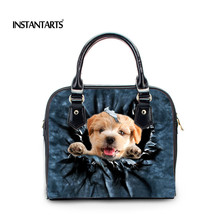 INSTANTARTS Luxury Women Leather Handbags Cute Puppy Dog Cat Messenger Shoulder Tote Bag for Ladies 3D Blue Denim Crossbody Bags(China)