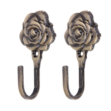 2PCS Rose Pattern Tieback Hook Iron Curtain Wall Hanger for Belts Towels hooks in the kitchen Home Decoration  E5M1