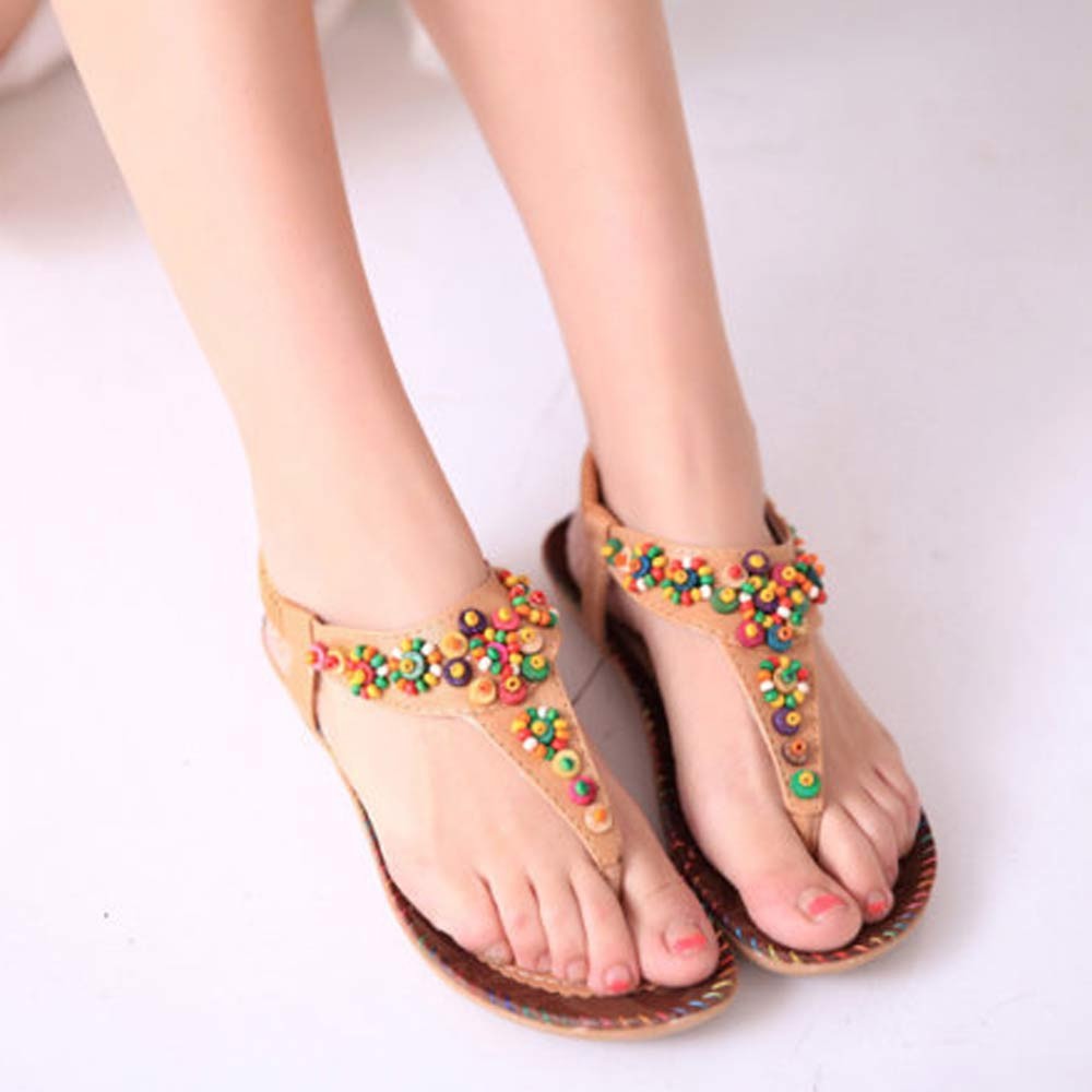 2016 New Summer Leisure Women Sweet Beaded Sandals Clip Toe Sandals Platform Beach Herringbone Flat Shoes indoor &amp; outdoor<br><br>Aliexpress