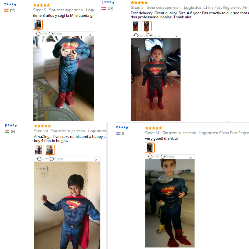 Kids Cospaly Deluxe Muscle Superman Costume Halloween Party Muscle Christmas Superman For Boys Girls Full Body Superman Suit (2)