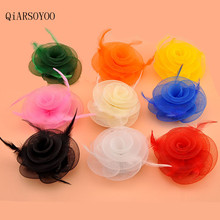 Wholesale Handmade Green Orange Yellow MIni Top Fascinator Hairpin Girls Feather Floral Gauze Hair Clips Women Hair Accessories