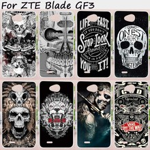 Mobile Phone Cases For ZTE Blade GF3 Cover 4.5 inch T320 Cases Soft TPU Silicon Black White Cool Skull Pattern Bags Skin Housing