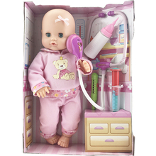 "16"" 40cm Interactive Baby Dolls Lifelike Soft Silicone Newborn Doll Handmade Bebe Reborn Doll Kit Children Doctor Play Toys Set(China)"