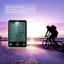 Waterproof Multifunction Cycling Computer Wireless Touch Button LCD Bicycle Computer Odometer Speedometer LED Backlight