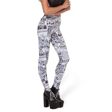 2015 Women Leggings European Summer Style Newspaper Digital Printing Pencil Pants Brand Elastic Slim Sexy Leggings LG062