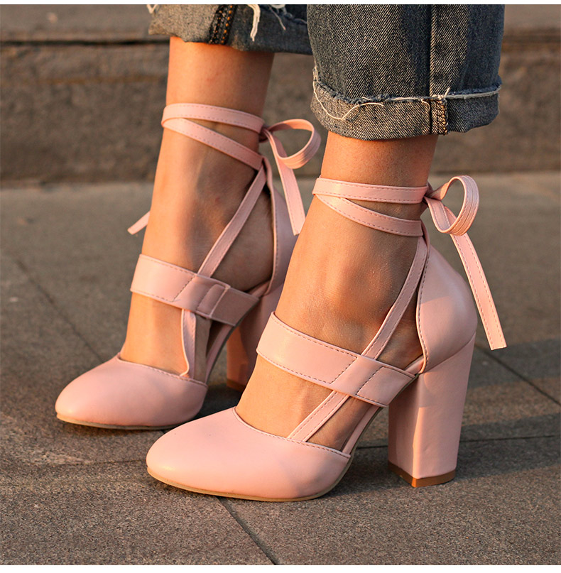 Women Pumps Comfortable Thick Heels Women Shoes Brand High Heels Ankle Strap Women Gladiator Heeled Sandals 8.5CM Wedding Shoes 7