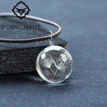 FOMALHAUT Real Dandelion Jewelry Crystal Glass Ball Dandelion Necklace Long Strip Leather Chain Pendant Necklaces For Women