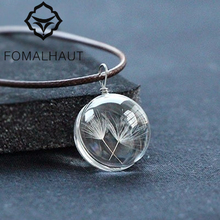 FOMALHAUT Real Dandelion Jewelry Crystal Glass Ball Dandelion Necklace Long Strip Leather Chain Pendant Necklaces For Women(China)