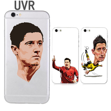 UVR Brand Robert Lewandowski phone case for iphone 5 5s 6 6s 7 7 plus 6plus soft TPU Transparent Football case