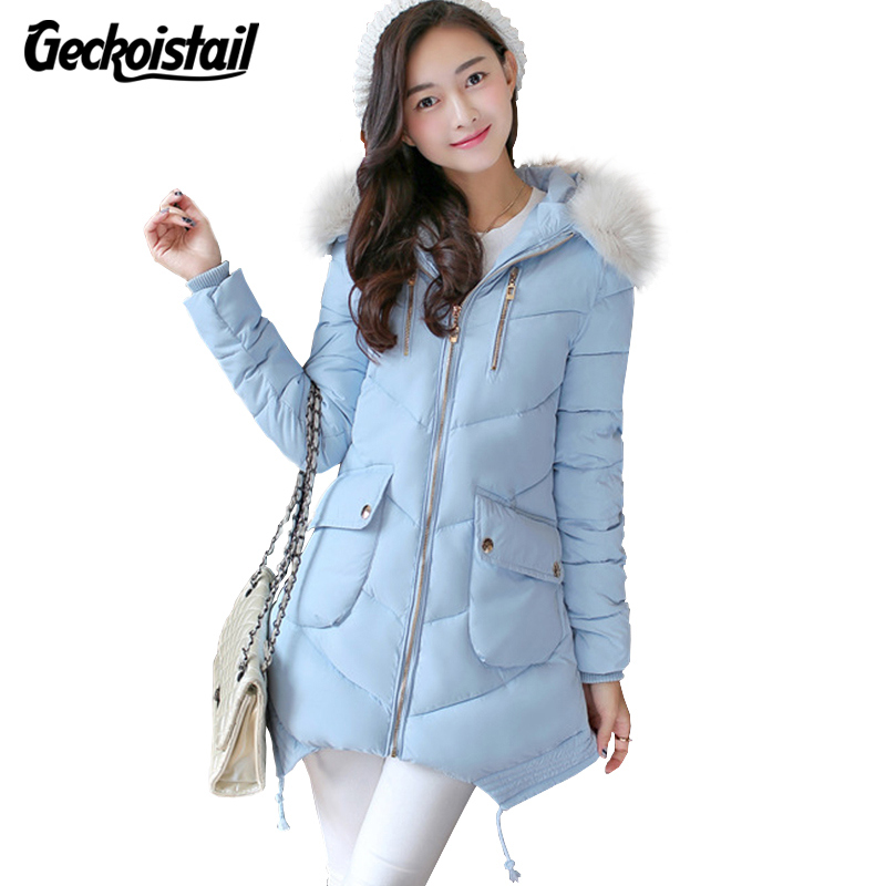 Geckoistail 2017 Winter Women Down Jacket Fashion Luxury Fur Collar Coat Thickening Parka Women Long Jacket For Women CoatsÎäåæäà è àêñåññóàðû<br><br>
