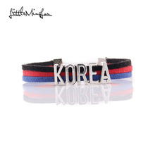 Little MingLou Infinity love KOREA Bracelet heart Charm bracelets & bangles for Women men leather braid suede country jewelry