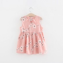 Toddler Girl A-line Summer Dress Sleeveless Floral Printed Kid Cotton Dresses