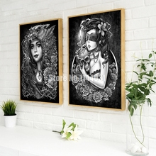 5D DIY Diamond Painting Cross Stitch People Illustrator Skull Motor Girl Needlework Home Decor Full Diamond Mosaic Embroidery(China)