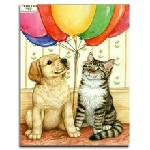 Peter ren DIY Diamond painting 100% Full Embroidery Craft gifts kits 3d square icons mosaic rhinestone paintings Dog balloon cat