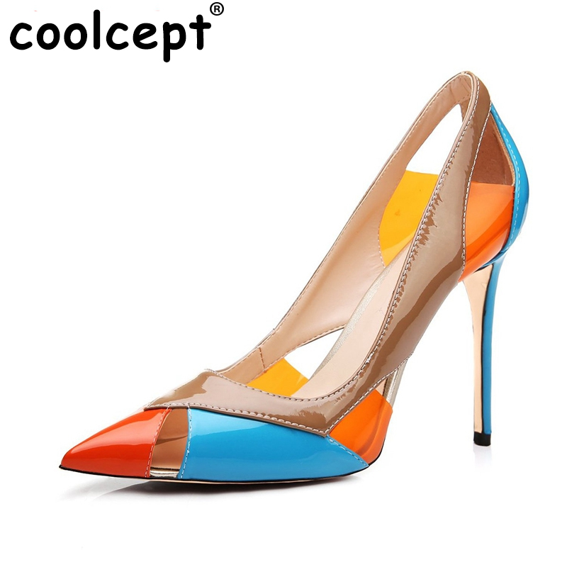 Women High Heel Shoes Pionted Toe Pumps Cut out Mix Color Brand Wedding Party Dress Shoes Ladies Heels Footwear Size 35-46 B148<br><br>Aliexpress