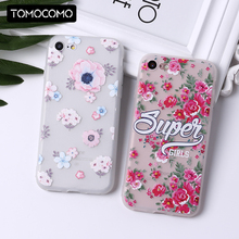 TOMOCOMO Floral Flowers Rose Pattern Cute Soft Transparent Silicon Printed Cherry Blossom For iPhone 5 6 6Plus 7 7Plus 8 8Plus X(China)