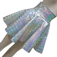 Harajuku Silver Holographic Glitter Women Vinyl Skirt  Rave Wear Festival Clothes Outfits Laser Hologram Fabric Skater Skirt