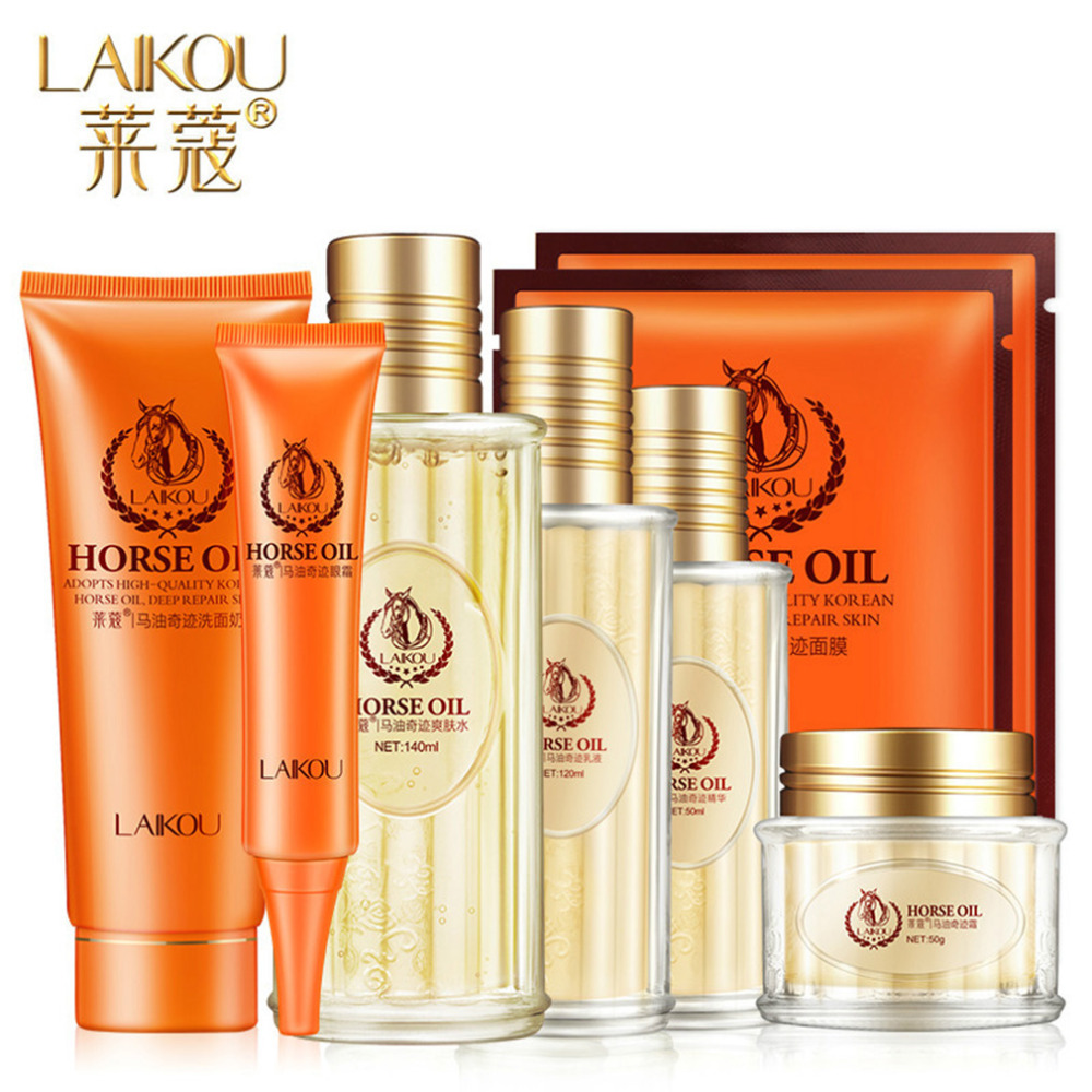 7Pcs/set LAI KOU Horse Oil Miracle Cosmetics Skin Care Suits Deep Care Hydra Glossy Reducing Wrinkles in Autumn and Winter<br>