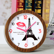 Fashionable Creative Retro Style Eiffel Tower Table Clock Red Lip Desk Clock Digital Alarm Clock Arabic Numbers Non-ticking