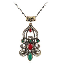 2017 Newest Fashion Flower Rhinestone Jewelry Vintage Imitation Emerald Necklace Pendant Jewelry