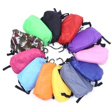 Drop shipping Fast Inflatable Lazy bag Sleeping Air Bag Camping Portable Air Sofa Beach Bed Air Hammock Nylon Banana Sofa(China)