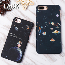 LACK Cartoon Airship Astronaut Stars Moon Case For iphone 7 Case Cute Boy Girl Cover Hard Phone Cases For iphone7 6 6S Plus 5 5S