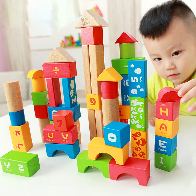 High Quality 50PCS Classical and 52PCS Forest Animals Wood Building Blocks Toy Bottled Children Educational Wooden Toy Block<br>