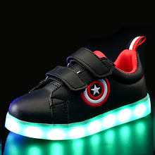 Eur26-37 // USB Charging Basket Led Children Shoes With Light Up Kids Casual Boys&Girls Luminous Sneakers Glowing Shoe enfant(China)