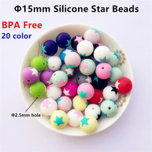 50pcs/lot 15mm BPA Free Silicone Star Beads DIY Baby Bracelets Teether Chewing Jewelry Toy Teethering Necklace Accessories
