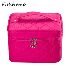 2016 Cosmetic bag Quilted professional makeup organizer femal large capacity storage handbag travel toiletry cosmetic box LWS051