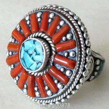R046 Nepal Tibetan White Metal Copper Antiqued inlaid Red Coral Sunflower big Ring,superwide finger Rings