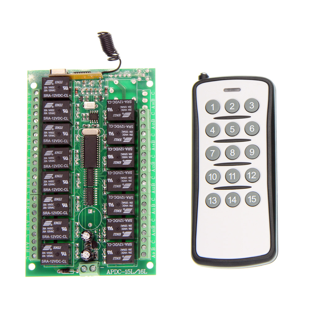 DC 12V 24V 15 CH 15CH RF Wireless Remote Control Switch System,315/433.92 MHZ Transmitter And Receiver<br><br>Aliexpress