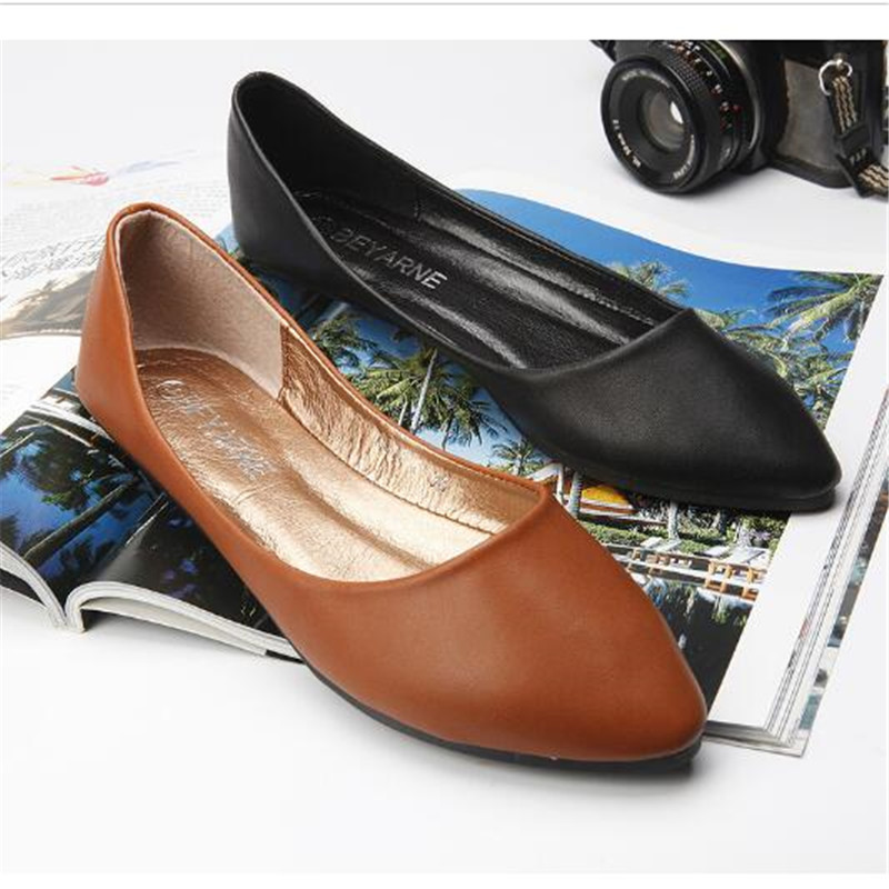 2017 Spring And Autumn Women Shoes Genuine Leather Flat Heel Casual Slip-on Pointed Toe Shoes Boat Shoes Free Shipping<br><br>Aliexpress