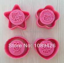Free Shipping Cake Cutter,4Pcs/set Hello Kitty Fondant Cake Decorating Sugar craft Plunger Cookie Cutter Mold Tools(China)