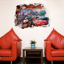 3D Cartoon Pixar Cars Wall Stickers,Super Cute Cars art Poster wall stickers For Kids Room Decor Poster Stickers Free shipping