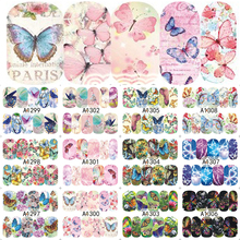 12 Designs HOT Butterfly Pattern Mix Nail Decals Nail Art Water Transfer Sticker Full Wraps Manicure Tips LAA1297-1308
