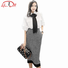 2017 Autumn Lantern Sleeve White Bowknot Tie Blouse Shirt Tweed Bodycon H-Line Skirt 2 Pieces Sets Midi Pencil Work Office Dress(China)
