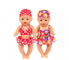 New Fashion Baby Doll Clothes Zapf Baby Born 18 inch American doll clothes doll accessories swimsuit for dolls(China)