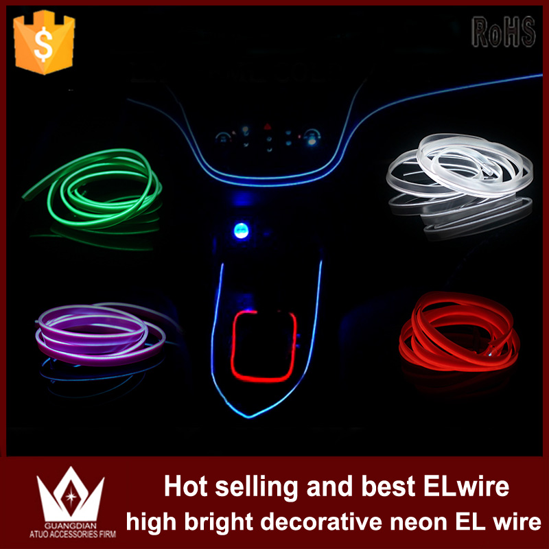 Guang Dian 5M or 6M cool neon Flexible Light flat EL Wire strip Rope Power Glow With Controller cigarette inverter car interior<br><br>Aliexpress