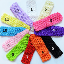 6 pcs/ lot U Pick Color Girl's 4cmx 15cm Girls Stretchy Elastic crochet Headbands Kids Accessories