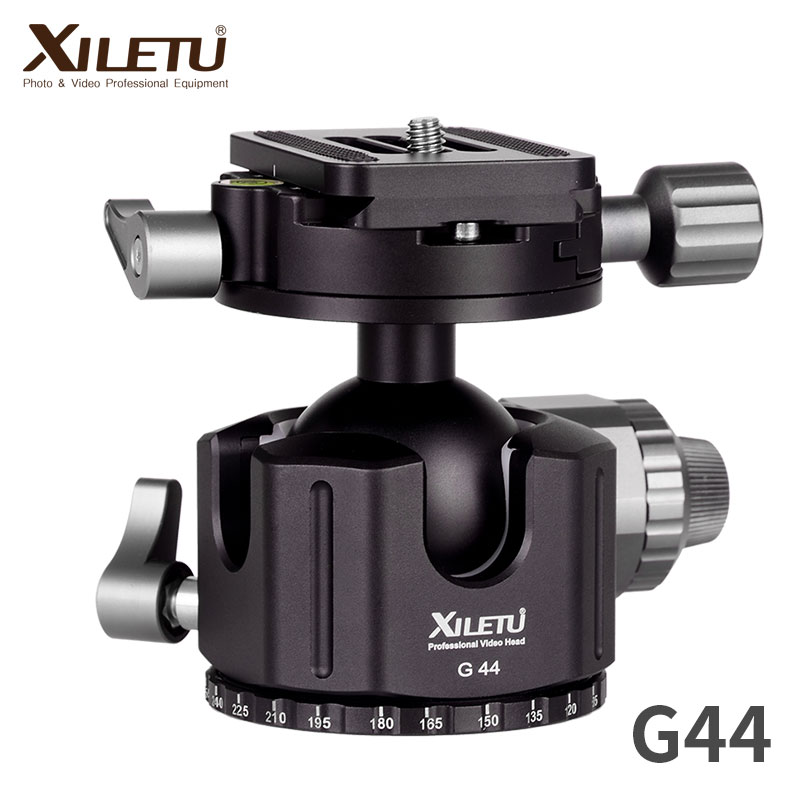 XILETU G-44 Camera Aluminum Alloy Tripod Ball Head 360 Degree Panorama Ballhead with Quick Release Plate for ARCA-Swiss
