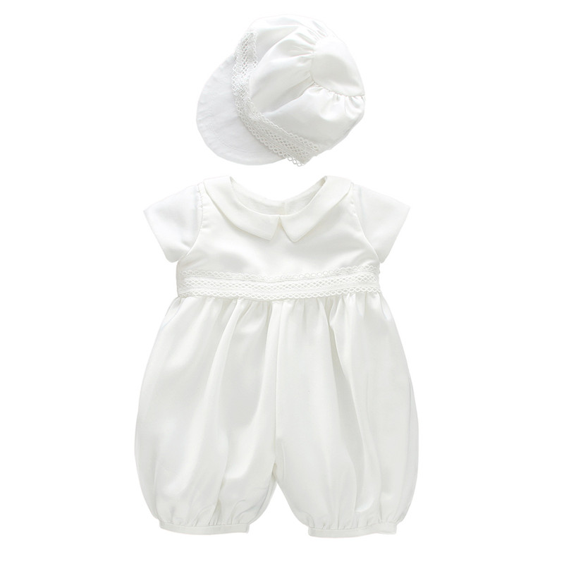 BBWOWLIN White Baby Boy Baptism Christening Rompers with Hat 9013<br>