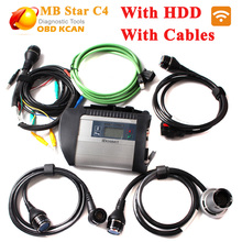 Best quality !! MB star c4 connect full set +05/2017 HDD SD Compact C4 with WIFI mb star c4 newest software for 12V and 24V cars