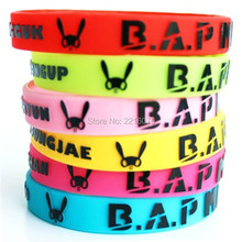6pcs K-POP B.A.P wristband embossed printed Best Absolute Perfect BAP silicone bracelets free shipping(China)