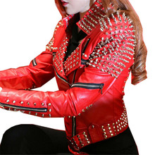 Red Leather Jacket Women Punk Rivets Studded Motorcycle Leather Spiked Leather Jackets Veste En Cuir Femme Cazadora Cuero Mujer